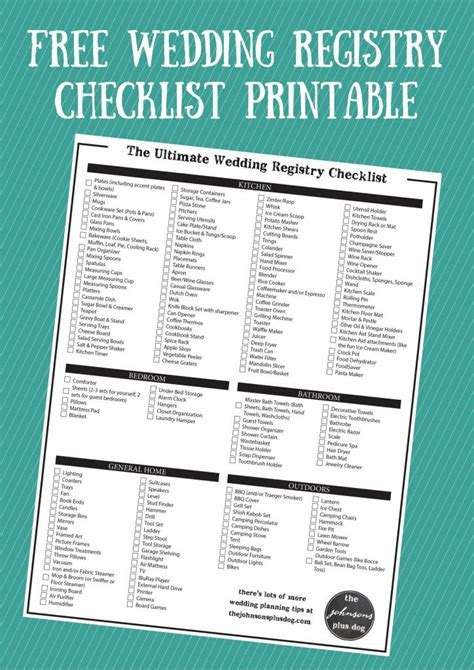 The Ultimate Wedding Registry Checklist   Free Printable