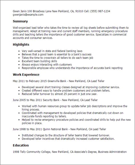 resume templates for lead teller lead teller resume template best design tips myperfectresume
