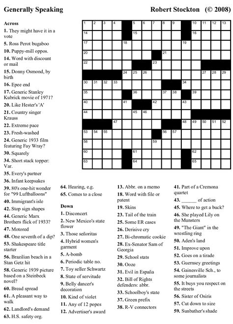 large print easy crossword puzzles printable easy crossword puzzles to print generallyspeaking large