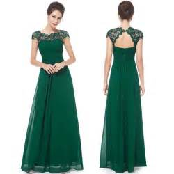Floor length chiffon bridesmaid prom dress dark green cap sleeves