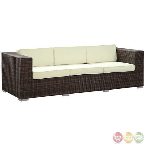 daytona modern outdoor wicker patio sofa with water and uv