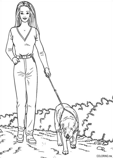 barbie dog coloring page coloring page barbie walk the dog coloring me