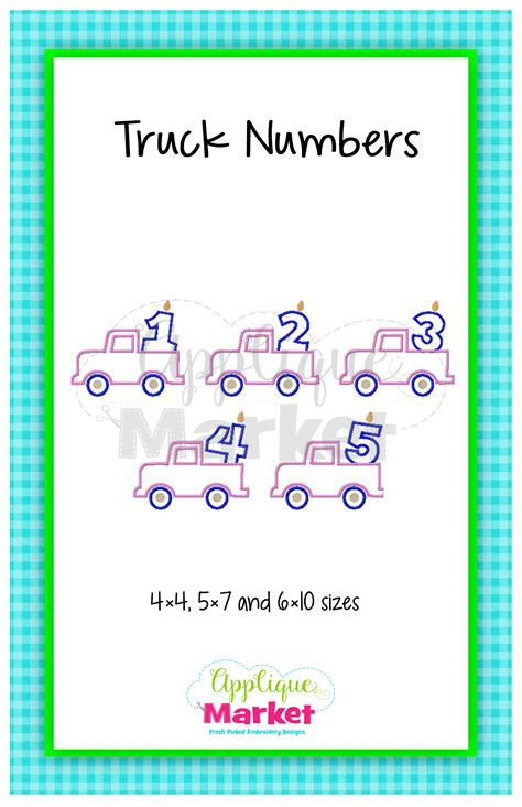 printable font app truck numbers