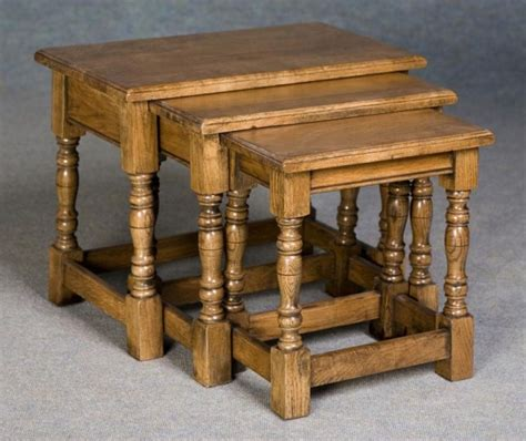 Nest Of Tables In Solid Oak Refectory Nest Of Tables Nest Of Coffee Tables Oak