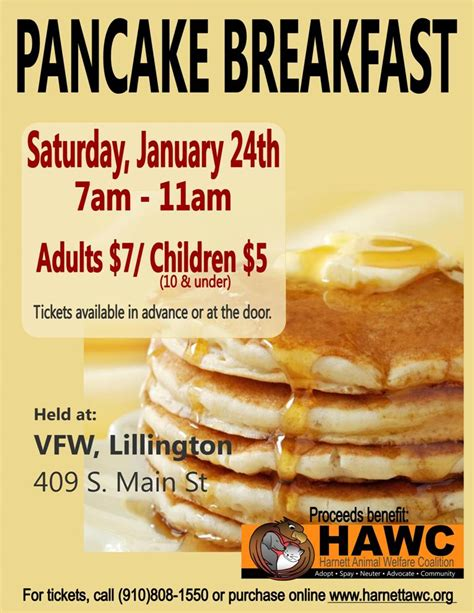 Pancake Breakfast Harnett Animal Welfare Coalition Hawc Be The Solution Breakfast Flyer Template