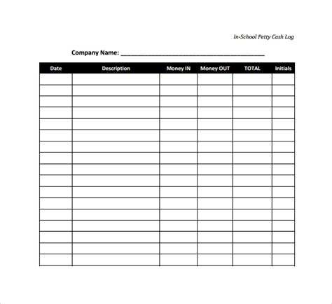 sle petty cash log template 8 free documents in pdf