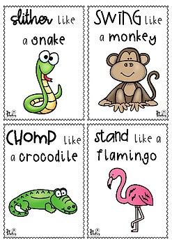 printable animal action cards 20 animal movement cards by top teacher teachers pay