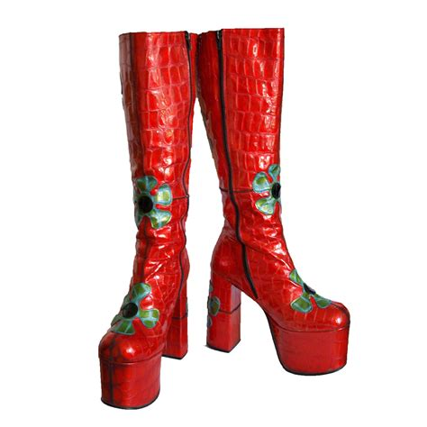 70s boots vintage 90s does 70s bright shiny by pennydreadfulvintage