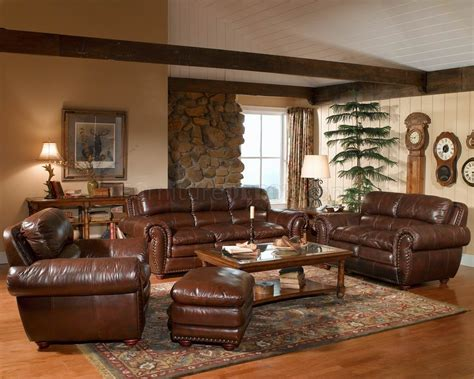 Brown Leather Sofa Living Room Ideas Leather Italia Aspen Brown Sofa Loveseat Set W Options