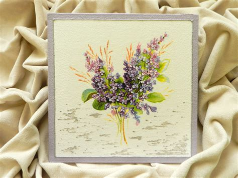 Decoupage Painting Techniques - decoupage technique painting lilac flowers handmade