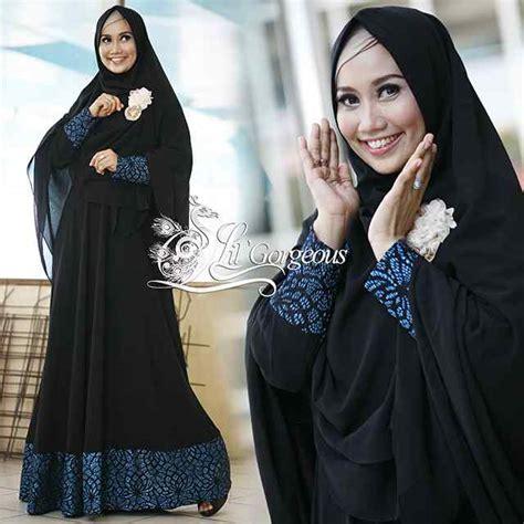 Gamis Fanta By Lil Gorgeous Dengan Jilbab syar i brokat biru turquice baju muslim gamis modern