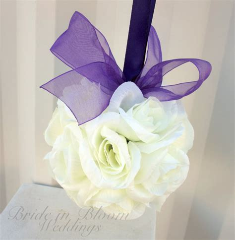 wedding aisle flower balls wedding flower balls pomander white purple wedding decorations