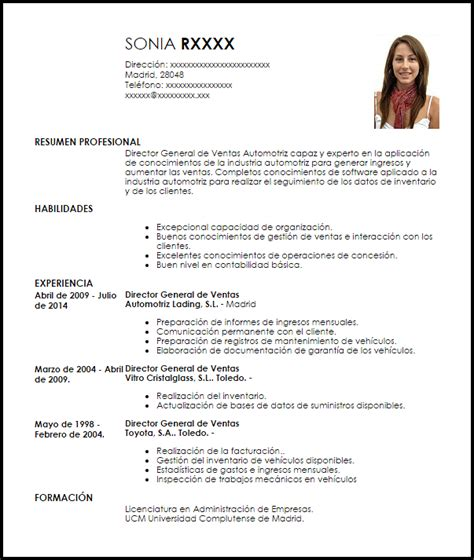 Modelo Curriculum Director Financiero Modelo Curriculum Vitae Director General De Ventas Para Industria Automotriz Livecareer