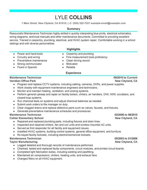 resume format for electrical technician maintenance technician resume exles created by pros myperfectresume