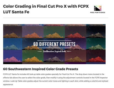 final cut pro lut fcpx lut santa fe was released by pixel film studios for