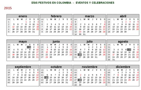 Calendario 2014 Colombia Feriados Y Dias Festivos 2015 Para Colombia Universo
