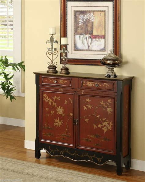 entryway bench hutch chinese red chinoiserie antique style chest cabinet buffet