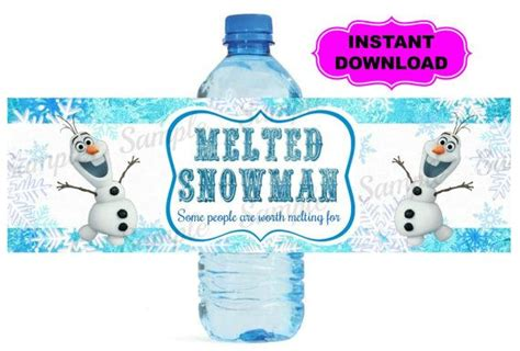 printable olaf water bottle labels frozen water bottle label printable digital birthday