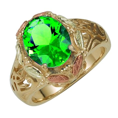 10k black gold ring with mt st helens emerald size 8