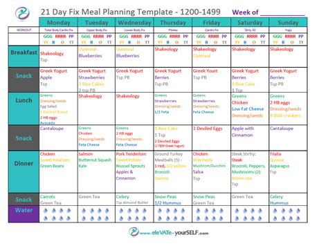 21 Day Fix Meal Plans Elevate Yourself 21 Day Fix Meal Plan Template