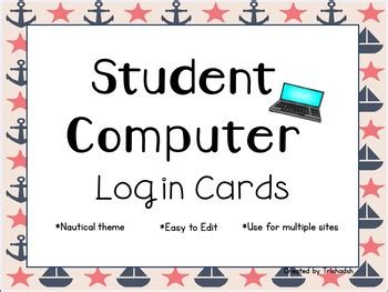 computer log in card template computer login cards by trishadsh teachers pay teachers