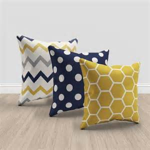 Yellow Sofa Pillows Navy Blue And Mustard Yellow And Throw Pillows Set Of 3 Pillows Geometric And Chevron