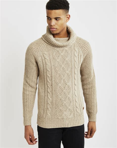 mens knit pullover lyst only sons mens knitted pullover cable knit jumper