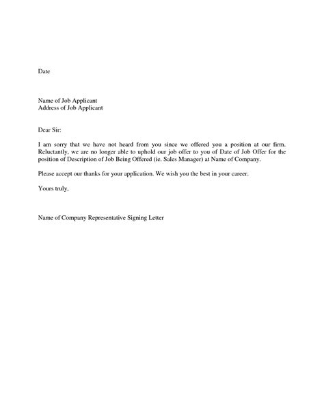 Offer Withdrawal Letter Employer Best Photos Of Offer Letter From Employer Offer Letter From Employer Template
