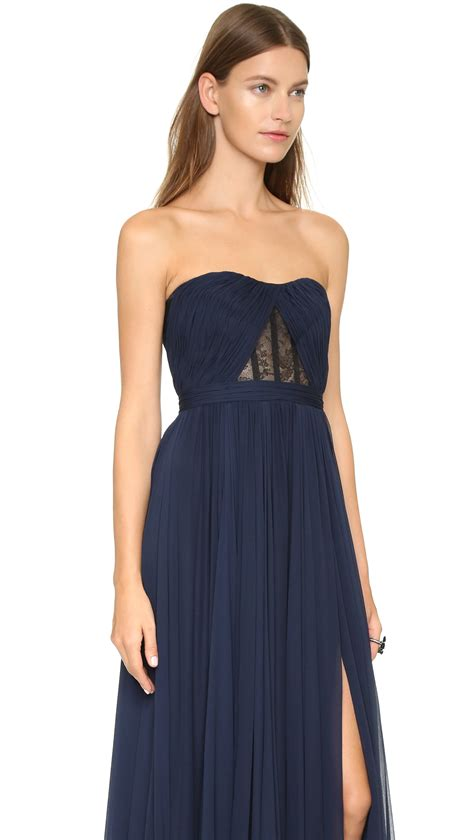 14055 Soft Chiffon With Inner Silk Lace Back Zipper reem acra silk chiffon skirt gown navy black in black lyst