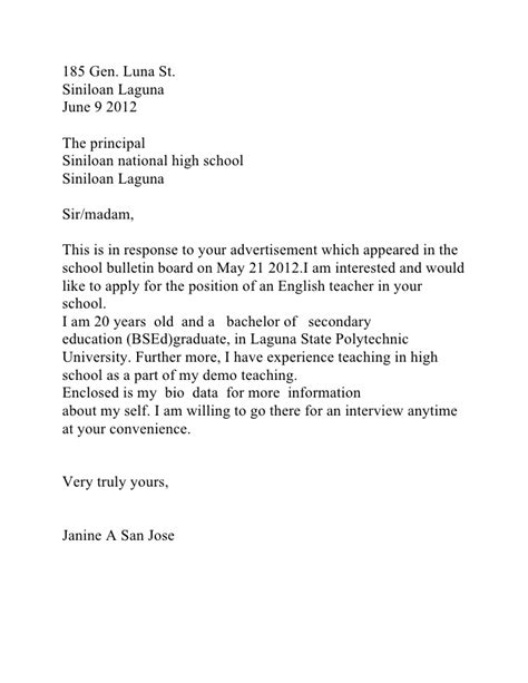 application letter for elementary in the philippines application letter sle philippines