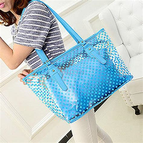 Jelly Bag 2in1 clear transparent womens tote shoulder bag jelly