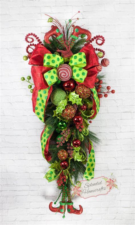 Swag Wreaths Front Door 43 Inch Teardrop Swag Door Swag Legs Swag Berry Swag