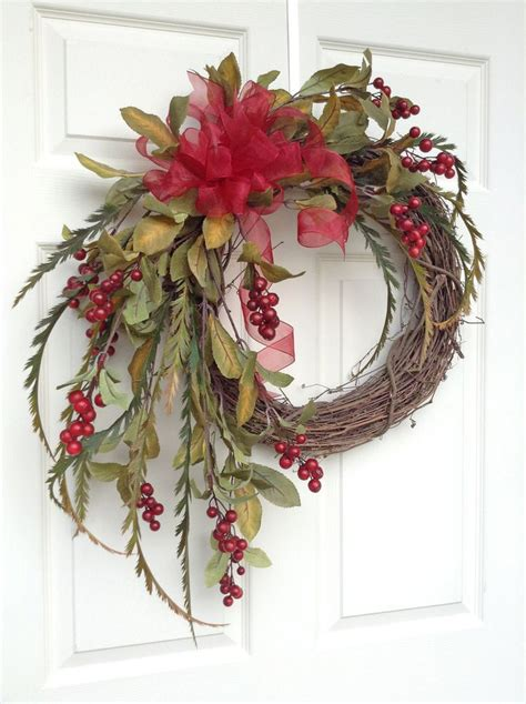 red berry christmas wreath for door holiday wreath winter