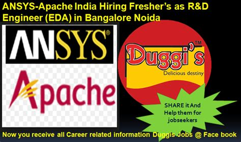 design engineer fresher jobs in bangalore duggis jobs ansys apache india hiring freshers as r d