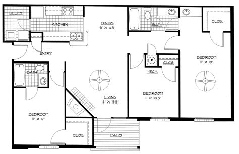 Designing Bedroom Layout 3 Bedroom Apartment Layout Bibliafull
