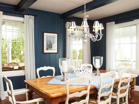 blue wall paneling  ceiling beams provide  bold