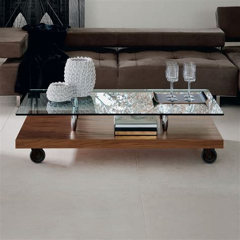 glass coffee table with wheels parsifal glass coffee table on casters arredaclick