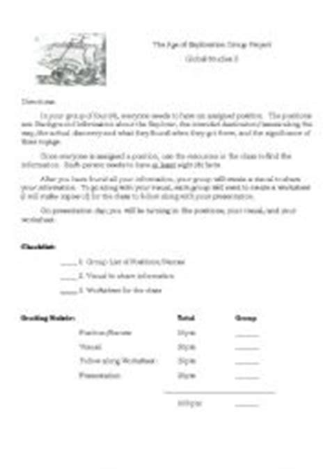 The Age Of Exploration Worksheet by Teaching Worksheets The Age