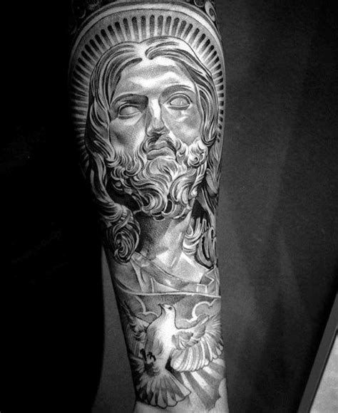 jesus tattoo on man s arm 50 jesus forearm tattoo designs for men christ ink ideas