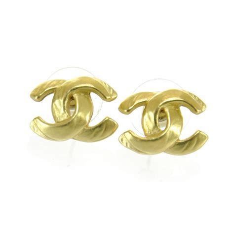 chanel cc logo earrings gold 29342