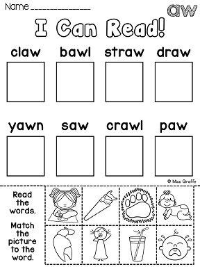 au pattern words au aw worksheets activities no prep phonics