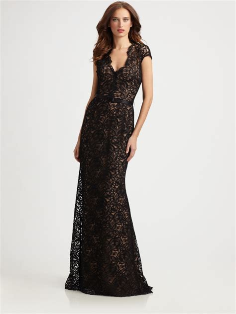 Dress Lace Import 1 lyst theia lace gown in black