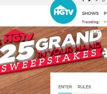 Hgtv 25 Grand In Your Hand Sweepstakes - 25 grand in your hand sweepstakes hgtv code words sweeps maniac