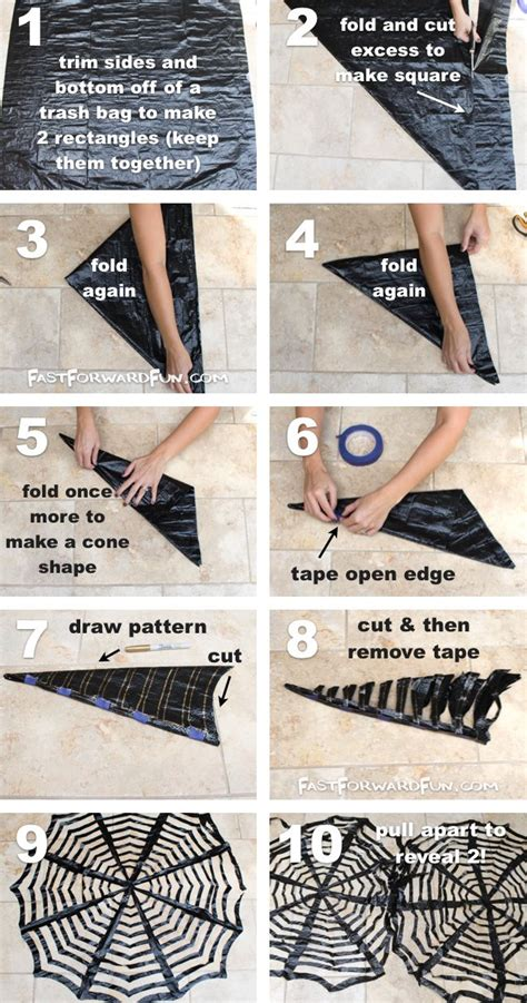 11 easy diy halloween decorations with trash bags diy trash bag spiderwebs cheap easy halloween decor