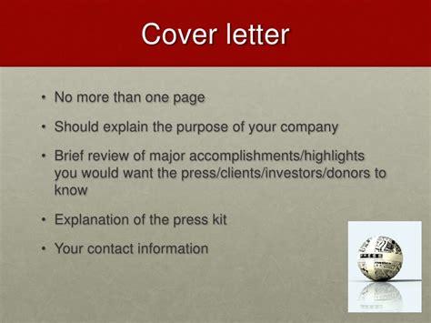 media kit cover letter lecture 10 press kits