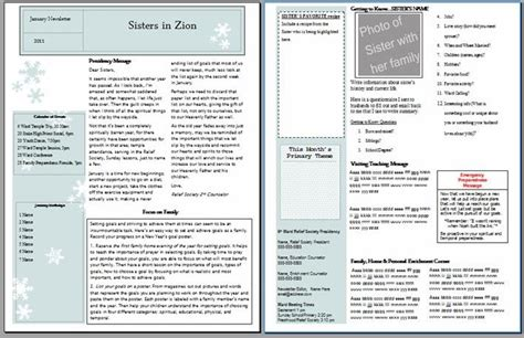 Amber S Notebook Relief Society Newsletter Templates Relief Society Newsletter Template Free