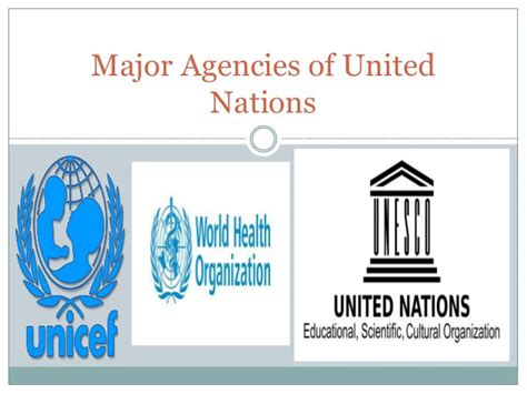 United Nations Nation 29 by Major Agencies Of United Nations