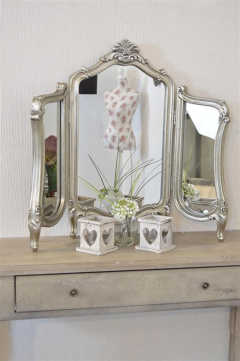 Stunning antique design free standing silver dressing table mirror