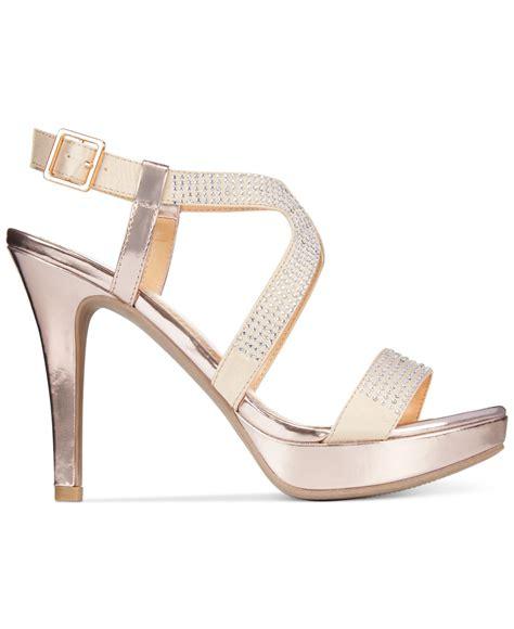 report gold sandals report lovejoy platform dress sandals in metallic lyst