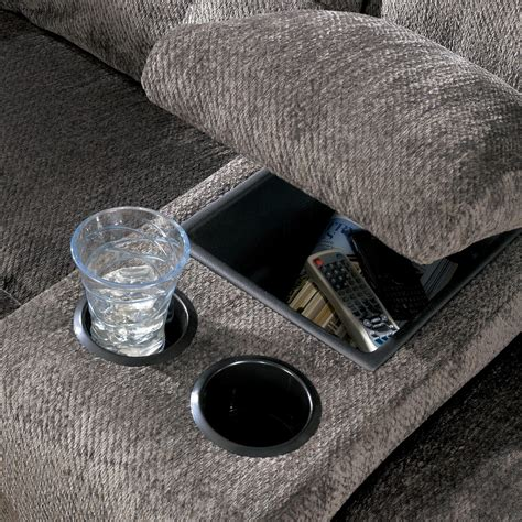 reclining with light up cup holders signature design by acieona slate reclining